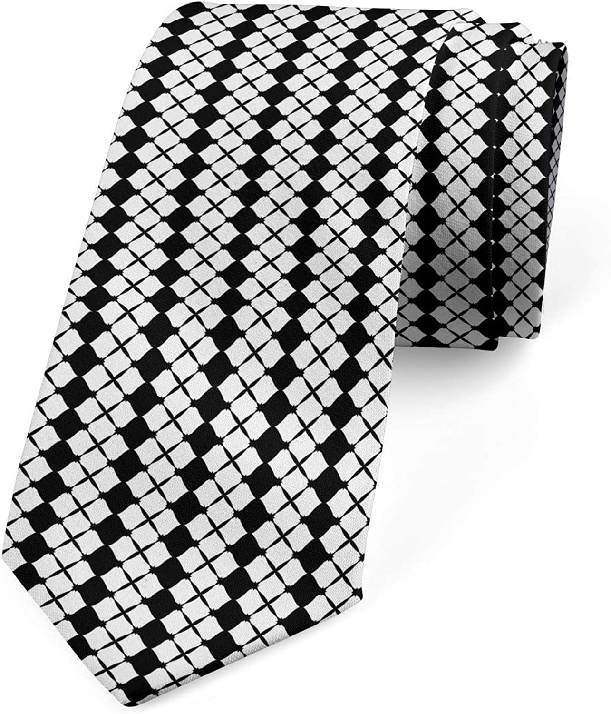 Ambesonne Men's Tie, Rhombus Grids, Necktie, 3.7