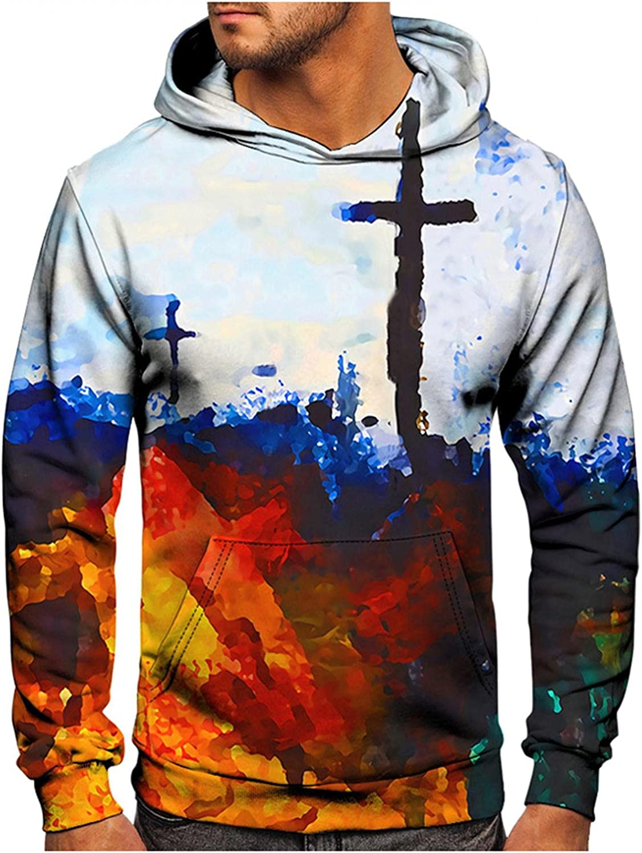 XUNFUN Men's Fashion Hoodies Vintage Oil Painting Faith Jesus Cross 3D Printed Easter Casual Pullover Tie Dye Sweatshirts