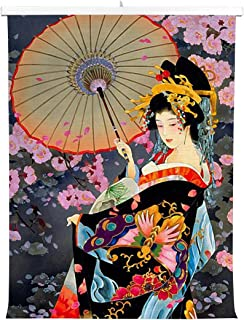 HommomH Print Canvas Wall Decoration Poster (20x30 inch) with Hanging Shaft Japanese Art Geisha Girl Flower