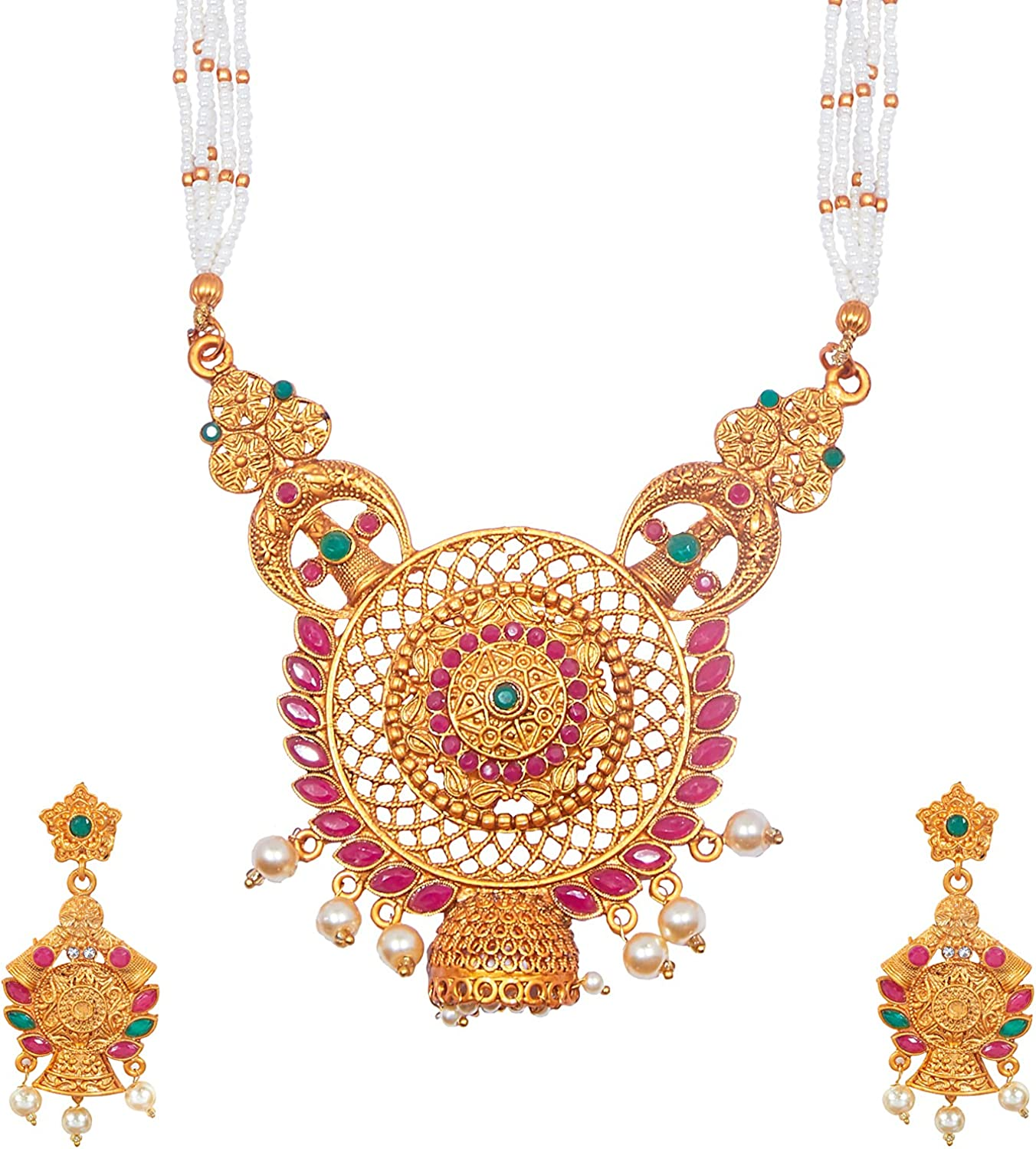 Bodha Tradtional Indian Handcrafted Antique Gold Plated Temple Jewellery Combo Bridal Dulhan Necklace Set With Matching Earring & Pearls For Women (SJ_2941)