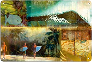 Pacifica Island Art - Surf Travel Journal Entry - Original Collage Art by Wade Koniakowsky - Fine Art Print 8 x 12 in Tin ...