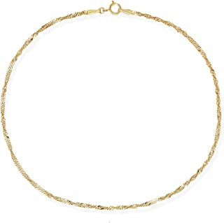 Lex /& Lu 10k Yellow Gold 2mm Solid Cable Chain Anklet Bracelet or Necklace