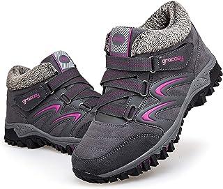 gracosy Platta vandringskängor för kvinnor, låga vandringskängor, halkfria skor med pälsfodrade utomhus snörning lätta and...