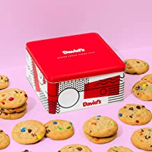 David's Cookies - 24 Fresh Baked M&M Candy Cookie Gourmet Gift Basket - Christmas, Holiday & Corporate Food Tin - Idea for Men & Women - Certified Kosher - 2 Lb