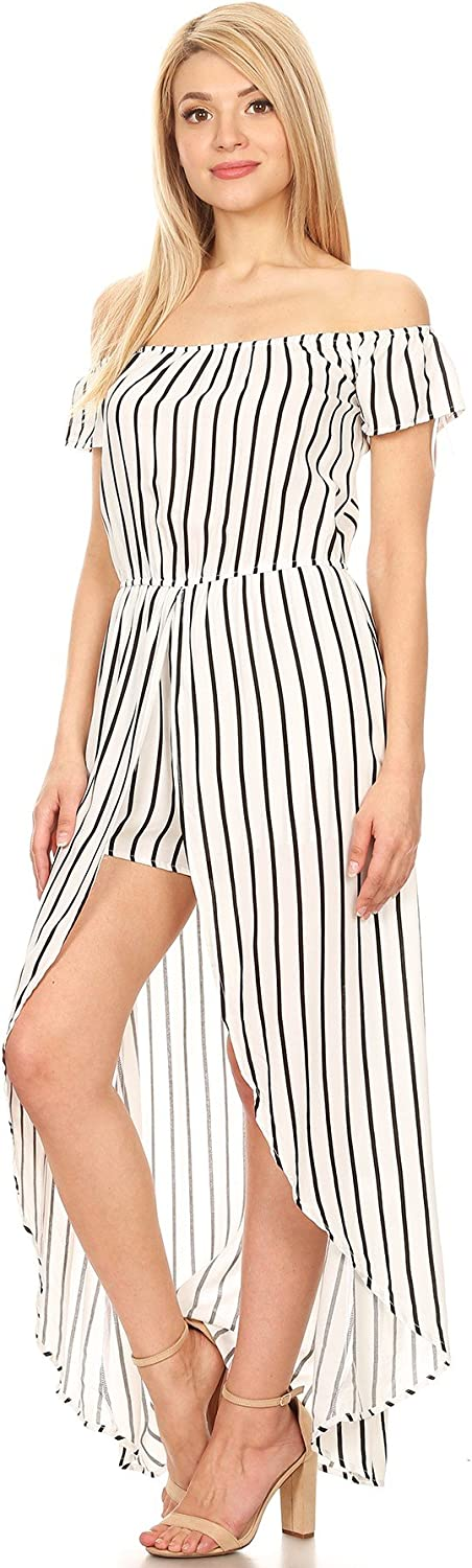 Ambiance Apparel Striped Off Shoulder Relaxed Romper Dress