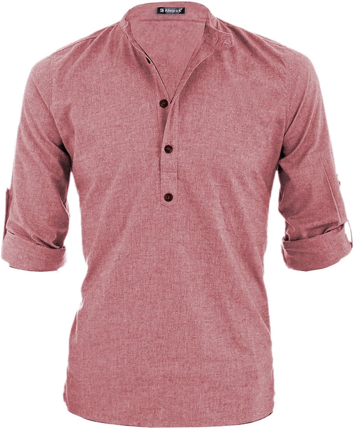 Allegra K Hombre Cuello Mao Mangas Enrolladas Brezo Henley Camisa