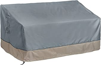 VonHaus 2 Seater Patio Bench Loveseat Cover - 'The Storm Collection' Premium Heavy Duty Waterproof Outdoor Furniture Protection - Slate Gray with Beige Trim - L60 x W35 x H22-30 inches