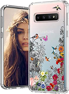 MOSNOVO Galaxy S10 Plus Case,Floral Humming Bird Flower Pattern Clear Design Transparent Plastic Back Case with Shockproof TPU Bumper Protective Case Cover for Samsung Galaxy S10 Plus