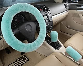 Dotesy 3 Pcs Genuine Sheepskin Auto Steering Wheel Cover Set with Gear Shift Knob Cover Handbrake Cover, Car Stretch-on Steering Protector in Australia Pure Wool Universal Fit for 15 inch (Mint Green)