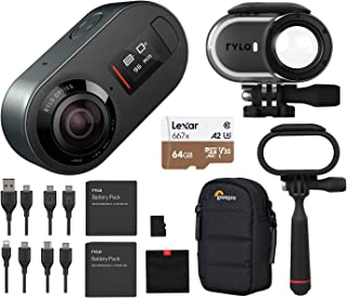 Rylo 5.8K 360 Degree Video Camera Black, (iPhone +Android) Bundle Kit Adventure Case, 64+16GB microSD Card, Extra Battery, Everyday Case, Lowepro Case