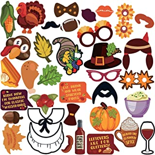 Thanksgiving Party Photo Booth Props 36pcs-Harvest Party Photo Props-Fall Photo Props-Thanksgiving Decoration -Fall Party Decorations-Happy Thanksgiving