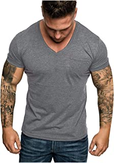 KLGDA Mens Print Slim Fit Short Sleeve Hipster Top Tees Classic Button Plaid Shirt Casual Polo T Shirt