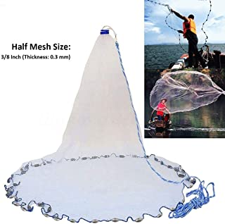 Yeahmart American Saltwater Fishing Cast Net for Bait Trap Fish 4ft/6ft/8ft Radius with Heavy Duty Real Zinc Sinker Weights and Aluminum Ring, 3/8inch Mesh Size