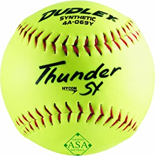ASA Thunder Hycon Slow Pitch Synthetic Ball - Yellow - Size 12 - Pack of 12