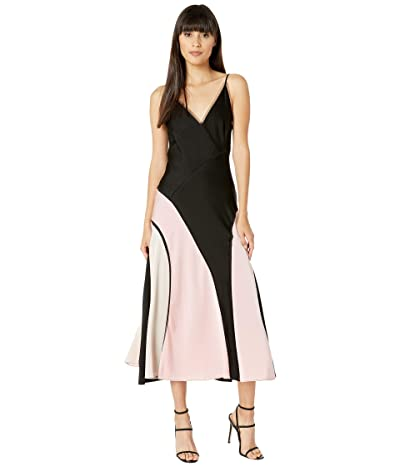 BCBGMAXAZRIA V-Neck Midi Dress (Black) Women