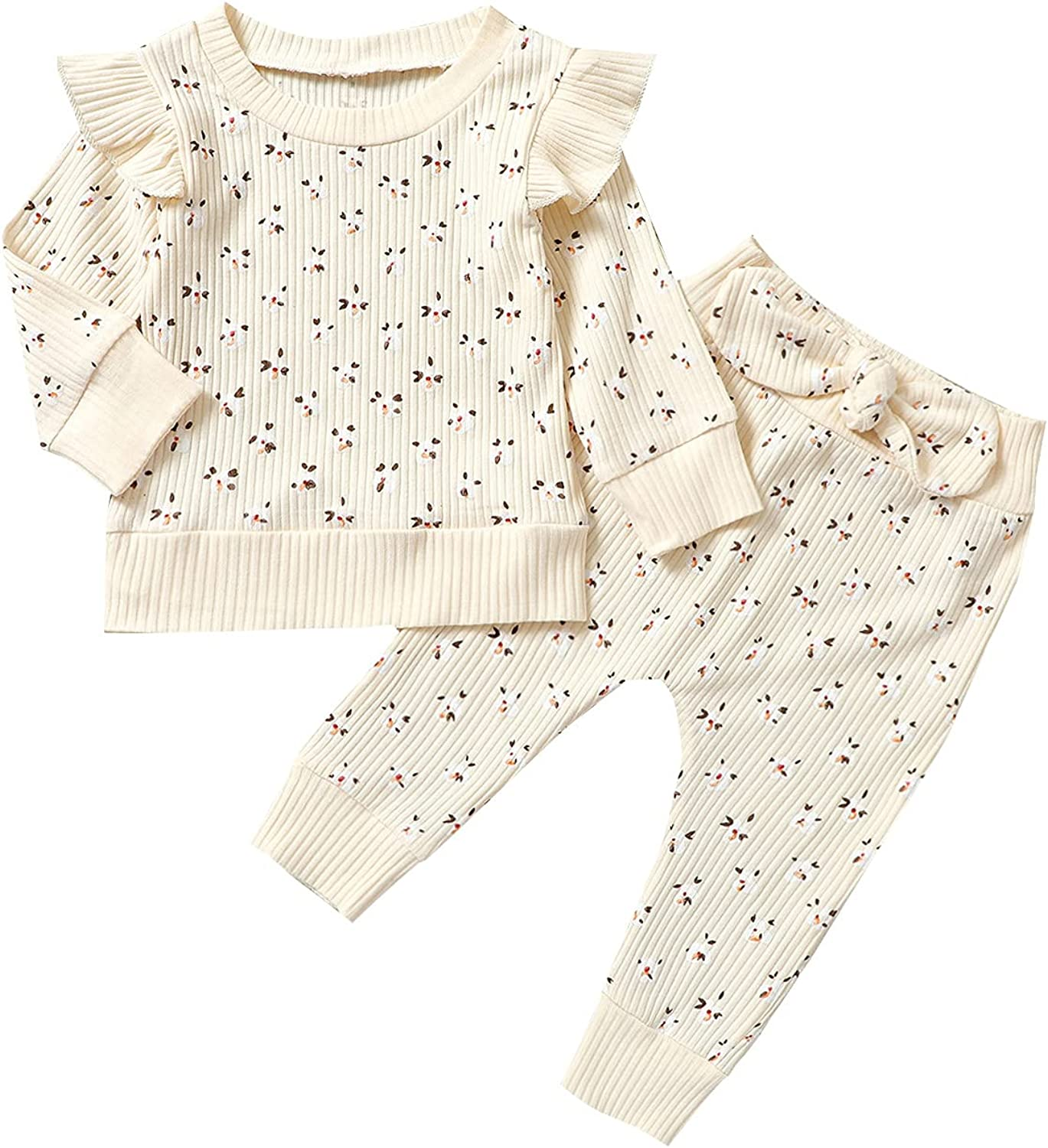 Infant Toddler Baby Girl Cute Outfits 2Pcs Floral Ruffle Fly Long Sleeve Pullover Bows Elastic Waistband Pants Fall