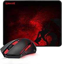 Redragon M601-WL-BA Wireless Gaming Mouse and Mouse Pad Combo, Ergonomic MMO 6 Button Mouse, 2400 DPI, Red LED Backlit & L...