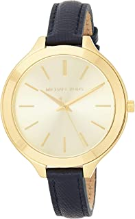 Michael Kors Womens Quartz Watch, Analog Display and Leather Strap MK2285