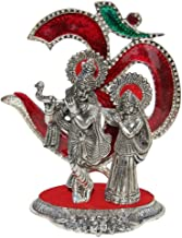 Handicrafts Paradise Radha Krishna Playing Flute with Om in The Back Drop