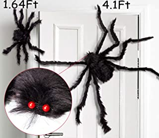 jollylife 2PCS Fake Giant Spider Halloween Decorations Black - Outdoor Yard Haunted House Party Decor Supplies(4.1Ft + 1.64Ft)