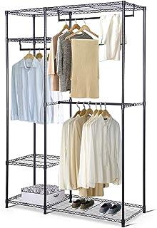 GOPLUS Portant Penderie à Vêtements Porte-Manteau Armoire de Rangement Métallique Réglable avec 3 Etagères Capacité de Cha...