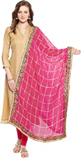 Woman's Pink & Gold Phulkari Border Dupatta