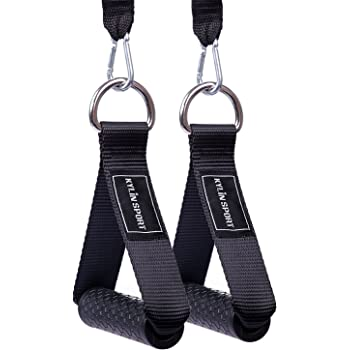 KYLIN SPORT Upgraded Cable Machine Attachments Resistance Bands Handles Grips Fitness Strap Stirrup Handle Cable Attachment Silicon Grip with Solid ABS Cores
