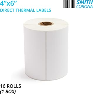 Smith Corona - 4x6 Direct Thermal Labels, 16 Rolls with 250 Labels/Roll, 1'' Core, 4000 Labels Total, Made in The USA, for 1