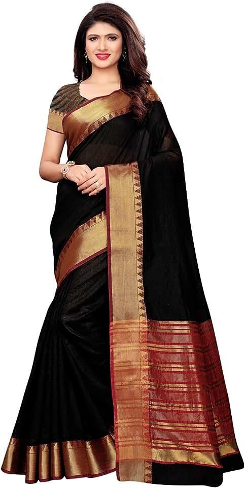 Indian KANCHNAR Women's Maheshwari Cotton Saree With Blouse Piece Saree