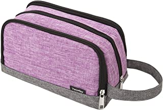 Girls Toiletry Bag, Yeiotsy Color Clash Durable Small Travel Toiletry Kit Bag for Kids Outdoor Activities (Purple)