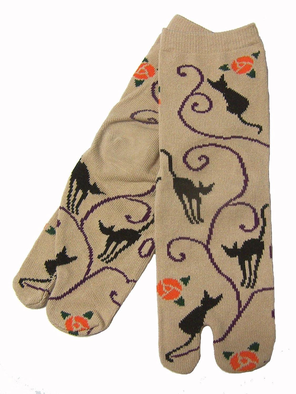 京都くろちく New文化足袋(黒ネコ桃) 和柄足袋靴下