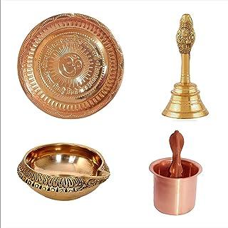 KSJ Pooja Samagri || Combo of Copper Puja Thali | Garuda Ganti | Kuber Deepak | Brass Panch patra | Indian Cultural Religi...