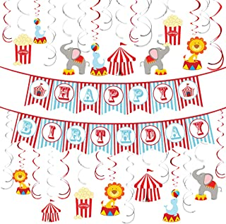 Circus Animals Party Supplies Carnival Hanging Swirl Ceiling Streamers Decorations Circus Theme Happy Birthday Banner Garland Circo Birthday Favors for Kids Baby Shower, 1st, Birthday Theme Decor