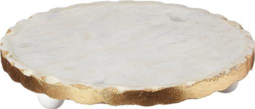 """Mud Pie Marble Trivet, 1 1/4"""" x 8 1/2"""" dia, Gold"""