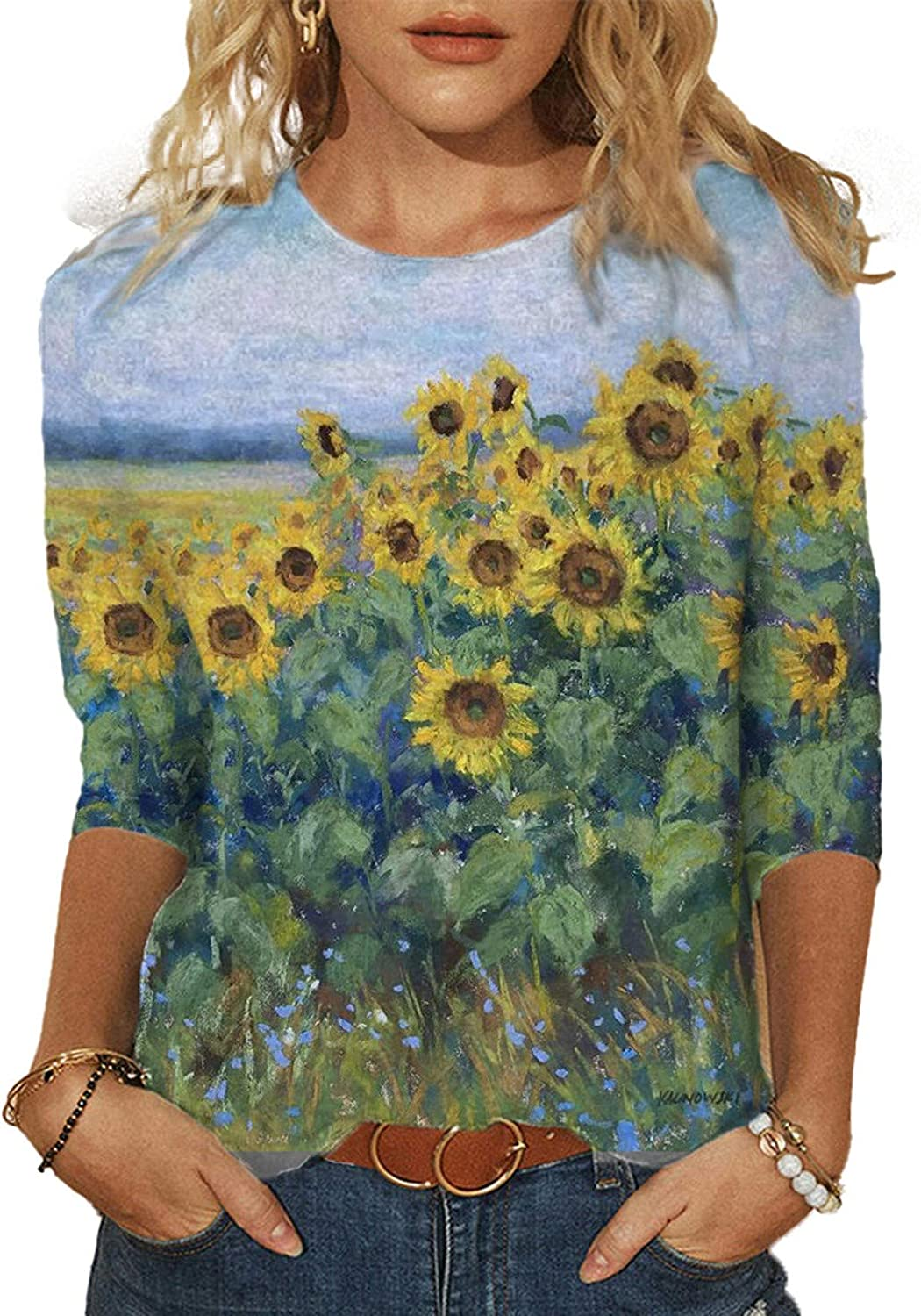 Eduavar Summer Tops for Women 3/4 Sleeve T Shirts Round Neck Loose Pullover Comfy Soft Blouse Summer Casual Printed Tops
