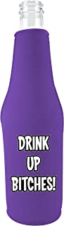 Coolie Junction Drink up Bitches Funny Zipper Bottle Coolie, Neoprene (Purple)