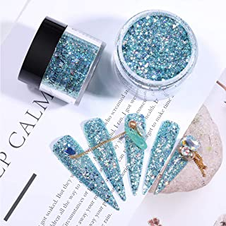 28g/Box Shine Mermaid Blue Glitter Hexagon Sequins Paillette Dip Powder Nails Dipping Nails Long-lasting Nails No UV Light Needed (HJ-ND064B-No.134)