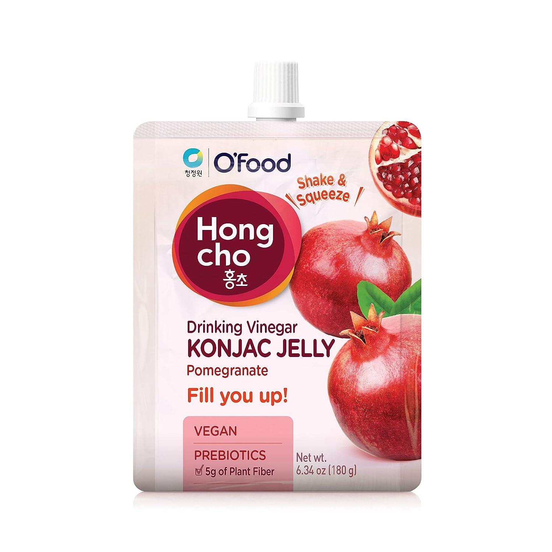 Chung Jung One O'Food Hong Cho Konjac Jelly, Drinking Vinegar, Pomegranate, Vegan, Prebiotics, 5 Pack (1box)