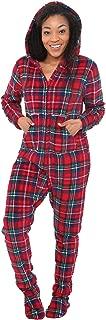 Women's Warm Fleece One Piece Footed Pajamas, Adult Onesie with Hood