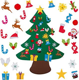 YOHEER DIY Felt Christmas Tree, 3.57ft DIY Christmas Tree with 26 Pcs Xmas Gifts Santa Claus Ornaments Wall Decor with Hanging Rope for Home Door Decoration