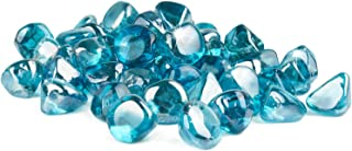 GASPRO 10LB Fire Glass Diamonds-1-Inch Caribbean Blue Reflective for Fireplace, Fire Pit, Endless Summer Fire Pit Table, Outland Living Fire Pit Table and More