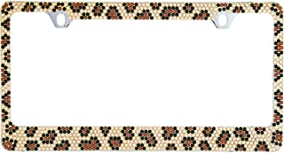 BLVD-LPF OBEY YOUR LUXURY Popular Bling 7 Row Crystal Metal Chrome License Plate Frame with Screw Caps (1, Brown Leopard)