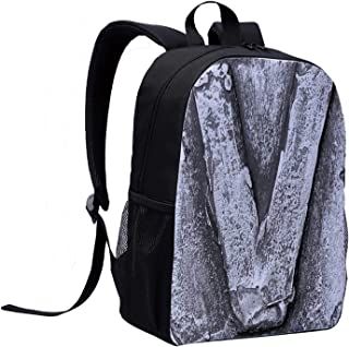 Letter V Canvas Backpack,Cracked Rusty Featured Vintage V Letter with Grunge Effects Original Alphabet Design Decorative for Playgrounds,12″L x 5″W x 17″H