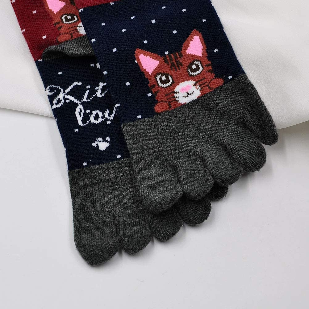 5 pares Calcetines Invierno LOFIR Calcetines Divertidos de Algod/ón para Mujer Calcetines con Dedos Separados talla 36-41 Calcetines con Dibujos de Animal Perro Gato