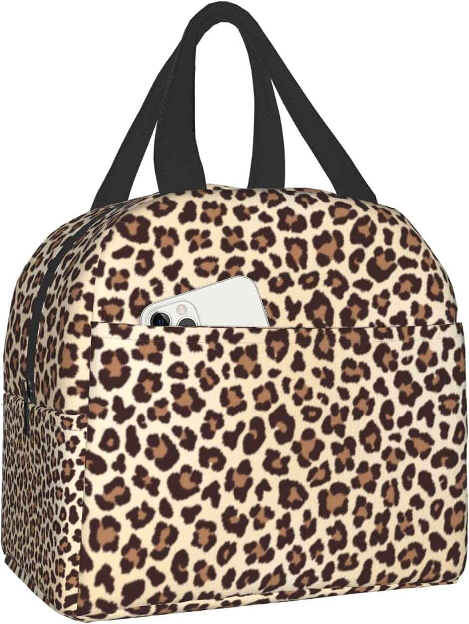 Female Leopard Skin Animal Tiger Pet Brown Collapsible Tote Reusable Washable Backpack Insulated Lunch Bag For Men Women Kids With Packets Christmas Halloween Mothers Fathers Day Gift