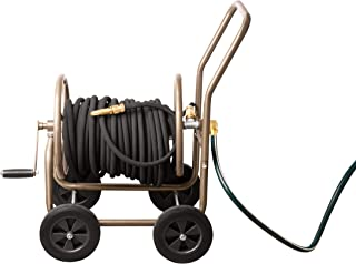 UPP All Metal 4-Wheel Garden Hose Reel Cart (with Protective Cover)   Can hold hose up to 60m long I Hose Reel and Brass ...