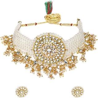 Zaveri Pearls Gold Tone Kundan & MultiStrand Pearls Choker Necklace & Earring Set For Women-ZPFK9805