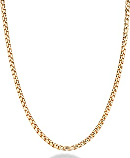Solid 18K Gold Over Sterling Silver Italian 3.5mm Square Rolo Link Round Box Chain Necklace Bracelet for Men Women 8, 8.5, 9, 16, 18, 20, 22, 24, 26, 30 Inch 925 Made in Italy