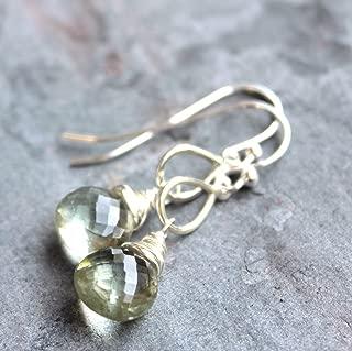 Green Amethyst Earrings Sterling Silver Prasiolite Dangle Mint Gemstones Teardrops