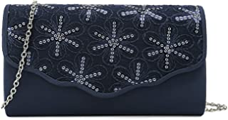 Charming Tailor womens Satin Clutch Purse Floral Sequins Bag for Women